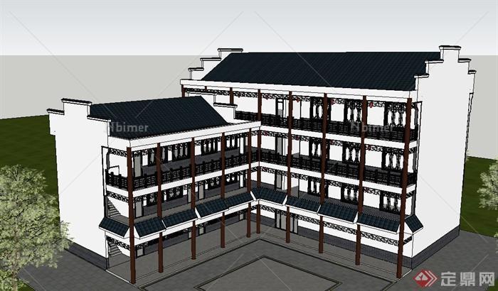 古典中式模型四层办公楼建筑设计SU模板景观设计v模型排版id徽派图片