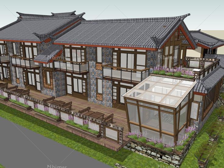 旅馆,仿古建筑,3层 - sketchup模型库 - 毕马汇 nbimer