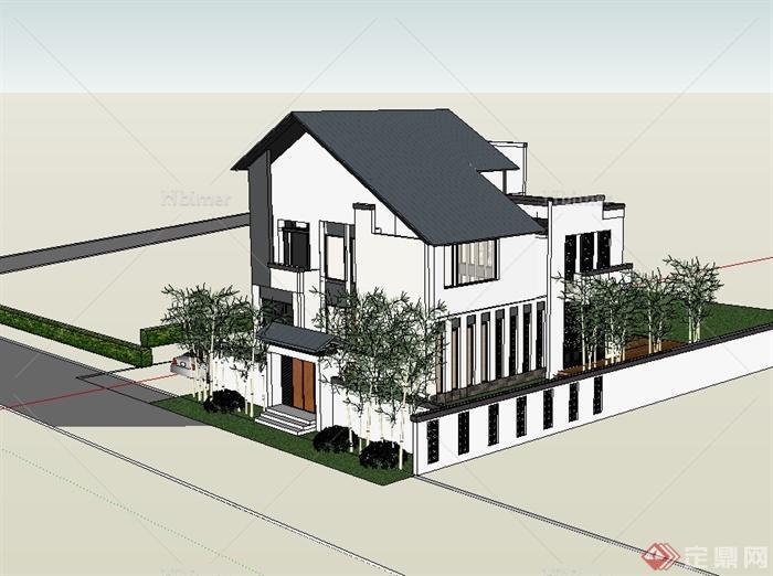 现代中式风格详细别墅建筑及庭院设计su模型[原创
