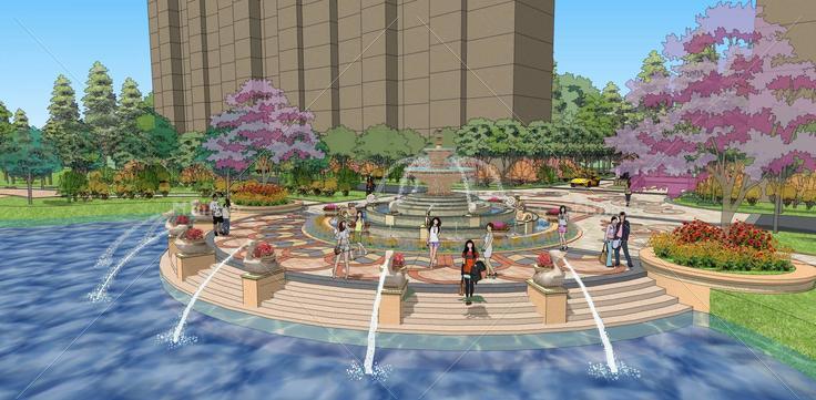 小区中庭水景观欧式风格(95812)su模型下载