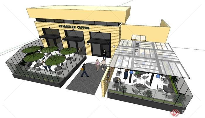 某咖啡厅建筑和室外布置设计su模型[原创]图片