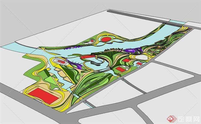 某现代风格简单的滨水公园景观设计su模型[原创]