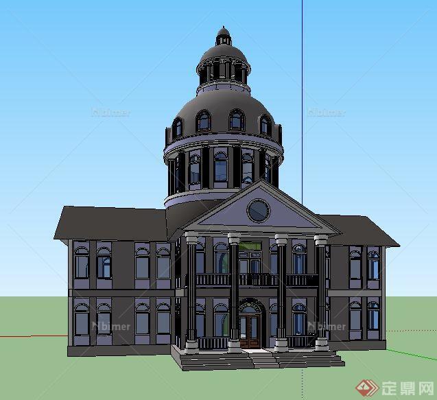 欧式圆顶教堂建筑设计su模型[原创]