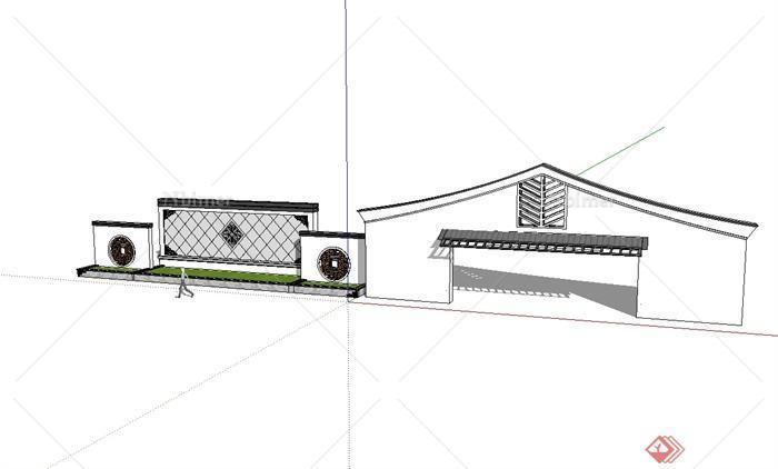 某现代中式风格景墙及景墙门设计su模型[原创]