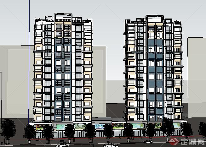 某现代风格高层住宅建筑设计方案su模型11