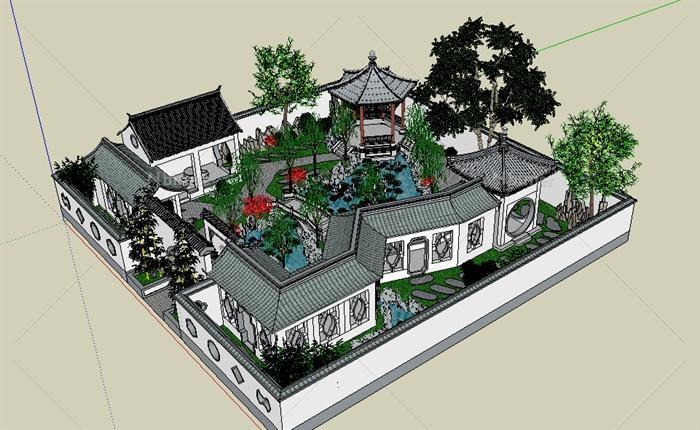 某古典中式荷花池庭院景观设计su模型[原创]