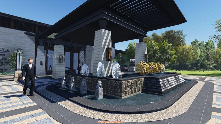 新中式售楼处酒店景观模型分享 lumion效果图