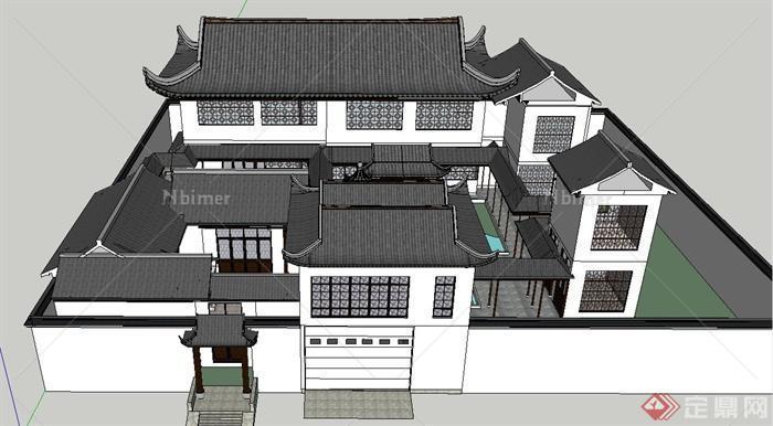 中式古建四合院住宅建筑设计su模型[原创]图片