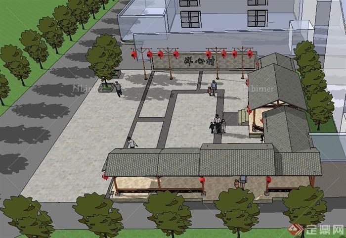 中式乡村风格连廊小广场设计su模型
