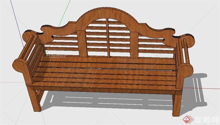 木质室外长椅设计su模型[原创] - sketchup模型库 -  图片