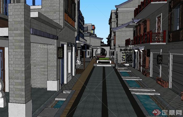 某现代中式风格商业街建筑SU模型设计,模型制作精致美观,有材质贴图,建筑造型多样化,模型可用于各类商业街建筑景观设计时使用有需要的朋友可自行下载使用。