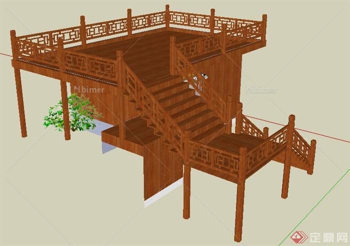 中式风格公厕观景平台设计su模型