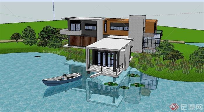 现代风格山地滨湖别墅建筑设计su模型[原创]