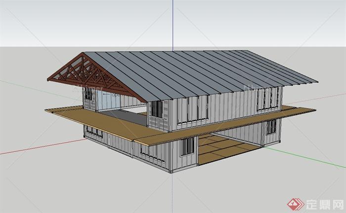 某现代风格两层集装箱厂房建筑设计su模型[原创]