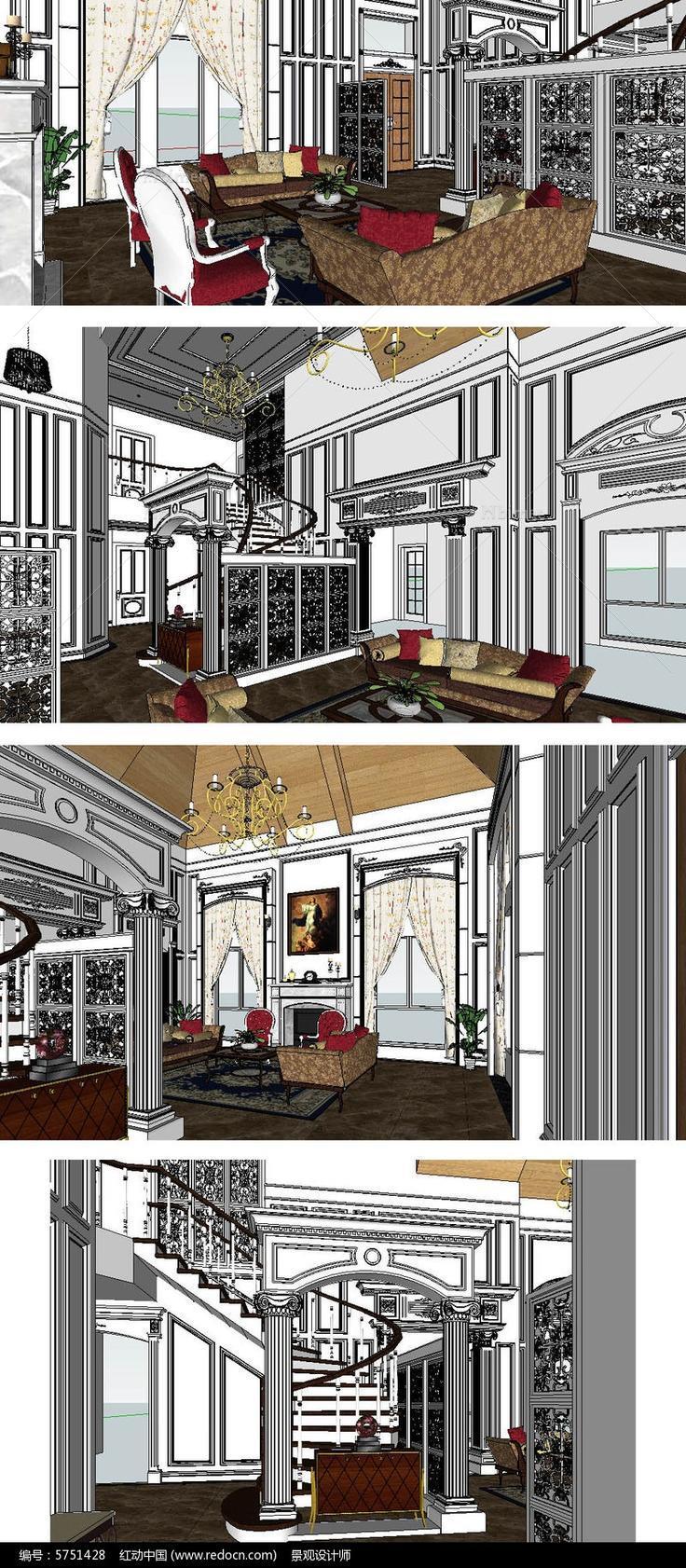 欧式大全室内模型草图SU别墅效果图别墅墙面大师硅藻泥2015图片欣赏图片