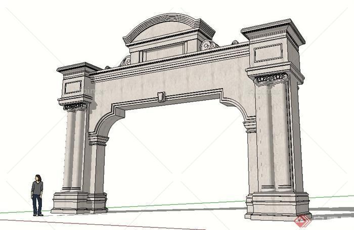古典风格大理石大门设计su模型[原创]