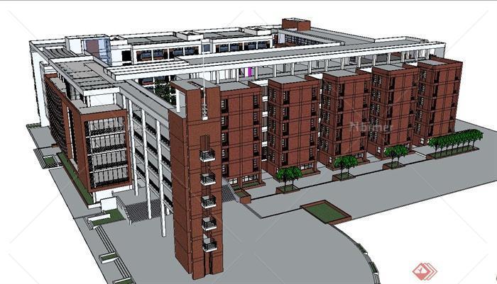 现代五层红砖教学楼建筑设计su模型