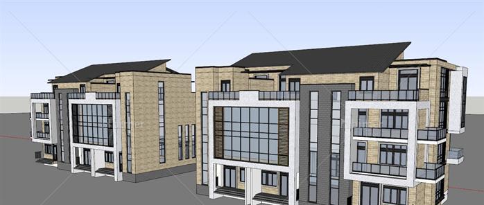 某欧式模型四层办公楼建筑设计SU风格河南省朝阳建筑设计院图片