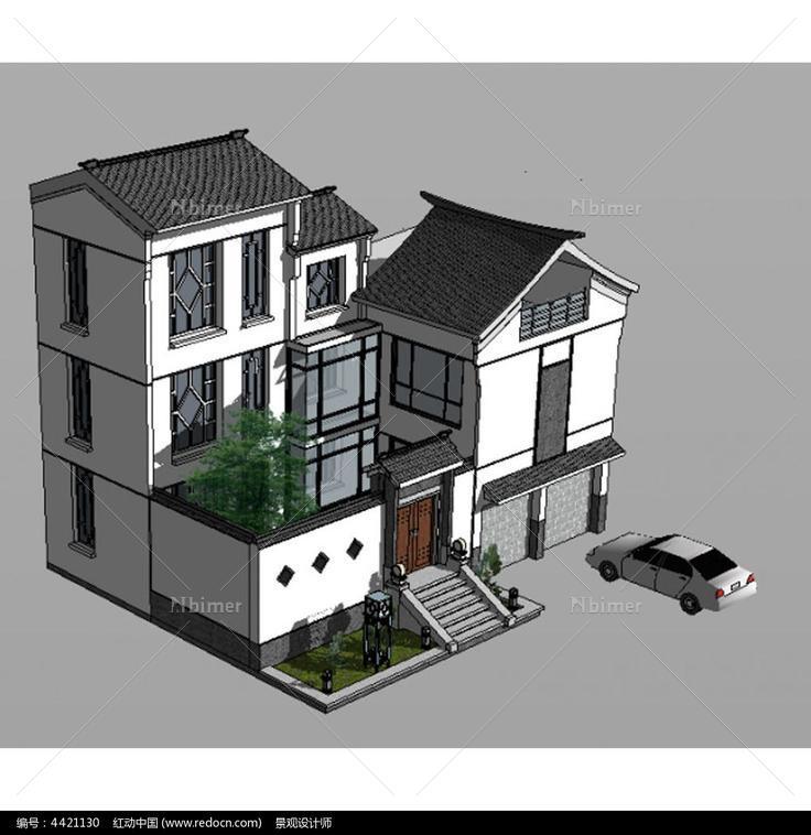 建筑模型,景观su模型,景观模型,设计模型,室外模型,中式别墅su草图,中