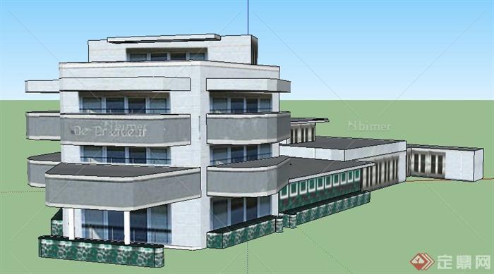 某地四层办公楼建筑设计su模型绘制快速ad如何100元件脚引的个以上图片