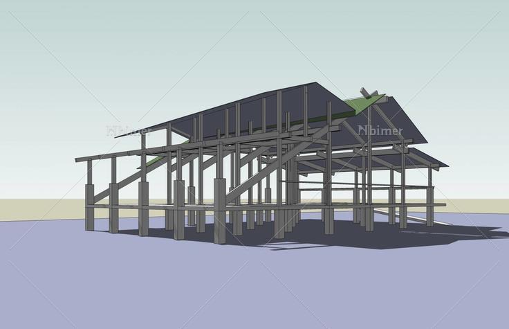 简易搭木棚结构图