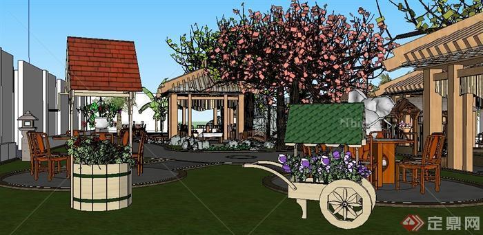 生态园农家乐庭院景观设计su模型[原创]