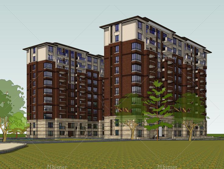 欧式古典风格高层住宅方案sketchup模型