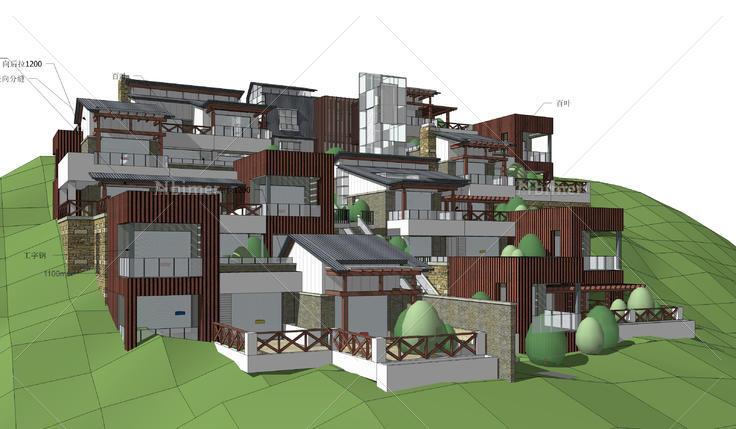 山地退台洋房建筑设计方案sketchup模型