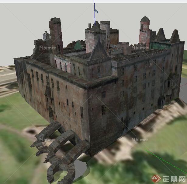 欧式多层城堡建筑设计su模型