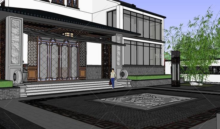 中式风格坡屋顶别墅建筑+景观布置精细模型(1306