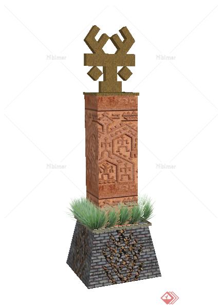 某黎族图腾景观柱设计su模型图片