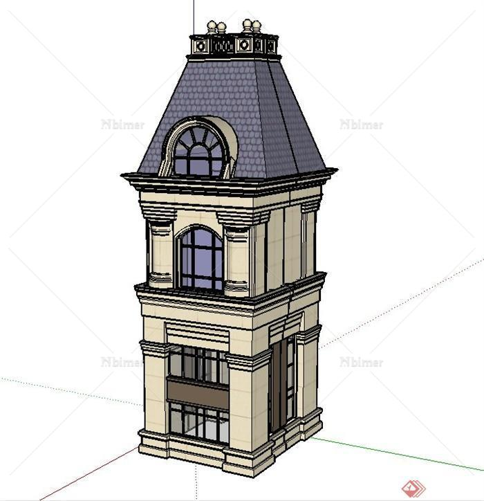 两层欧式钟塔建筑设计su模型