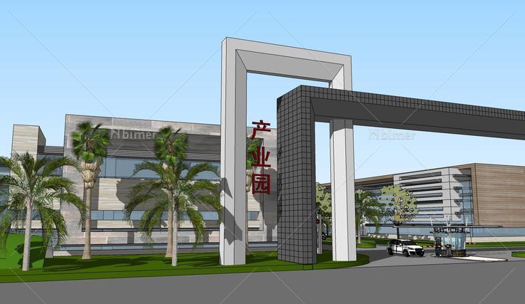 现代工业产业园规划办公楼建筑sketchup模型(142图片