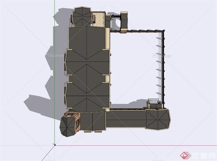 欧式气派幼儿园建筑设计su模型[原创]