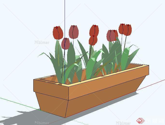 长方形花钵设计su模型