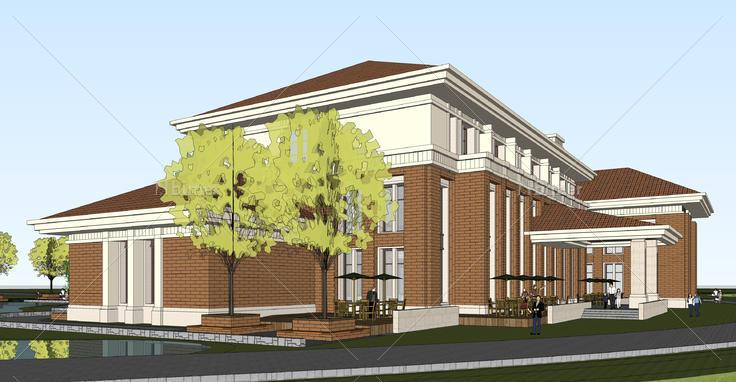 欧式风格办公接待中心设计方案sketchup模型