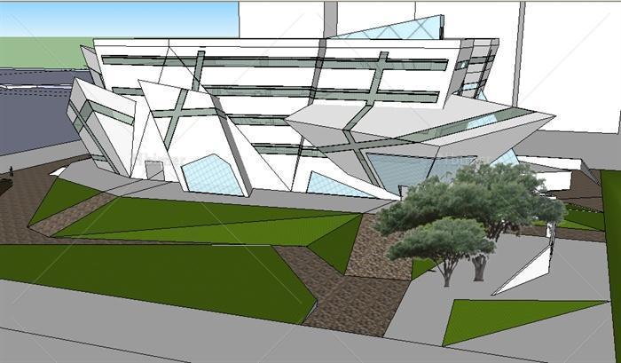 结构解构主义科技馆展览馆建筑设计su模型[原创]图片
