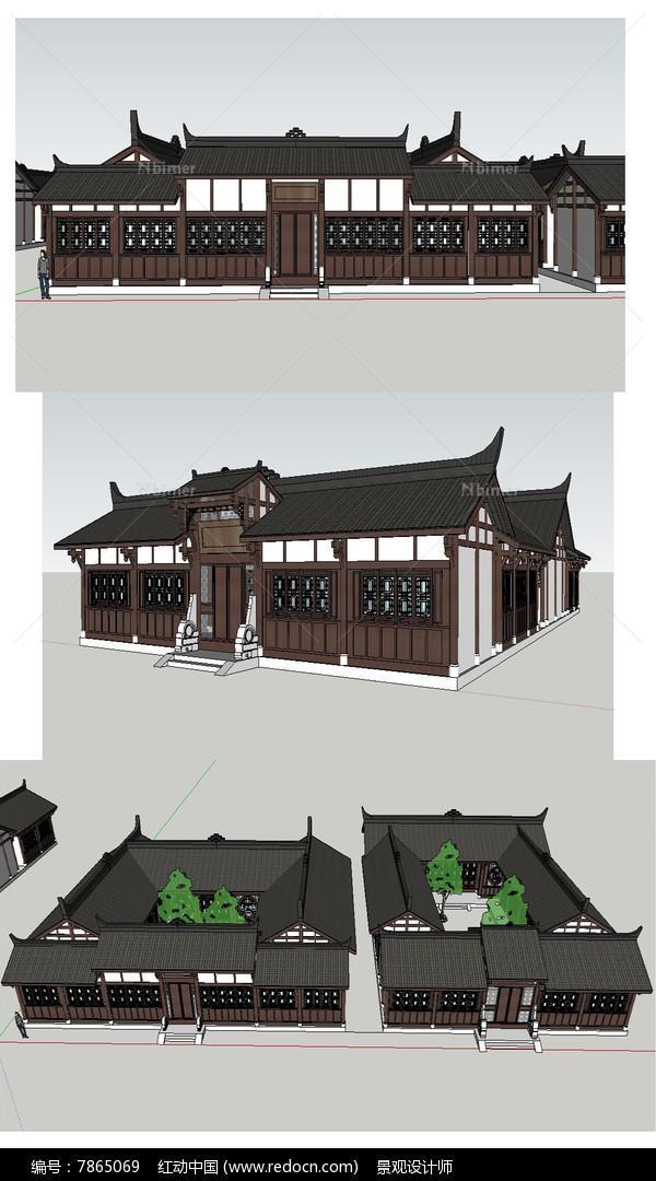 川西民居院落草图建筑模型图片