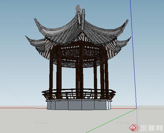 古典中式风格八角亭景观设计su模型图片