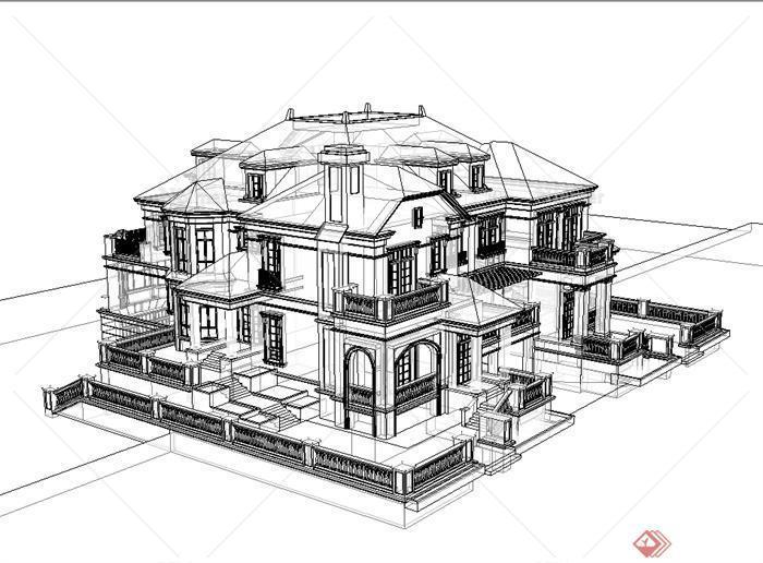 欧式风格双拼别墅建筑楼设计su模型[原创]图片
