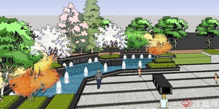 某水池景观小品设计su模型[原创]图片