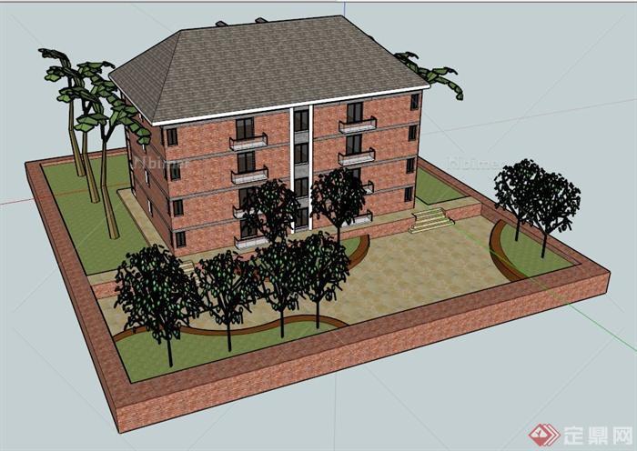 一栋四层要点建筑设计SU别墅超高层建筑设计模型探究图片