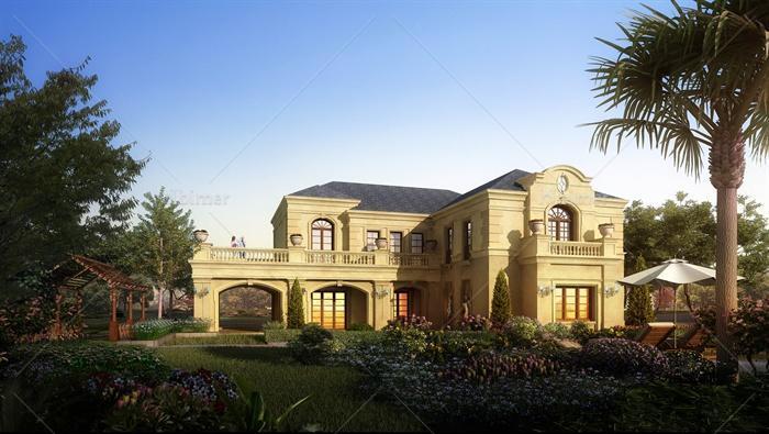 某欧式风格独栋别墅建筑设计su模型