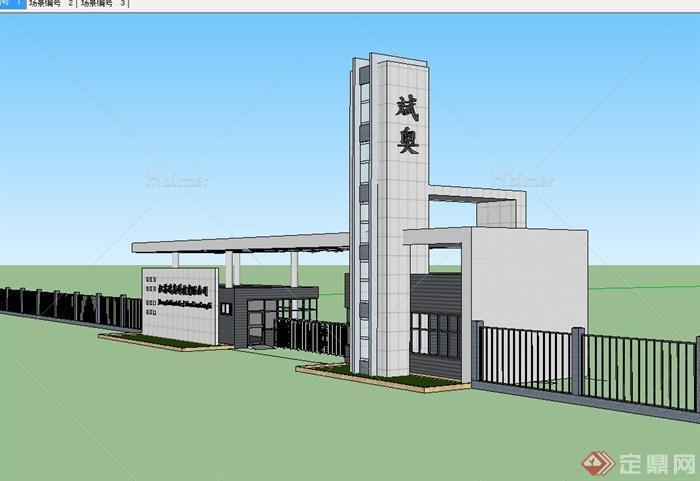 现代某公司入口大门传达室建筑设计su模型[原创]