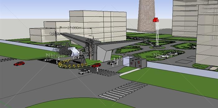 某现代发电厂大门入口设计su模型[原创]