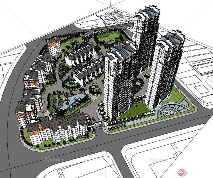 现代中式风格居住区规划建筑设计精细景观设计su