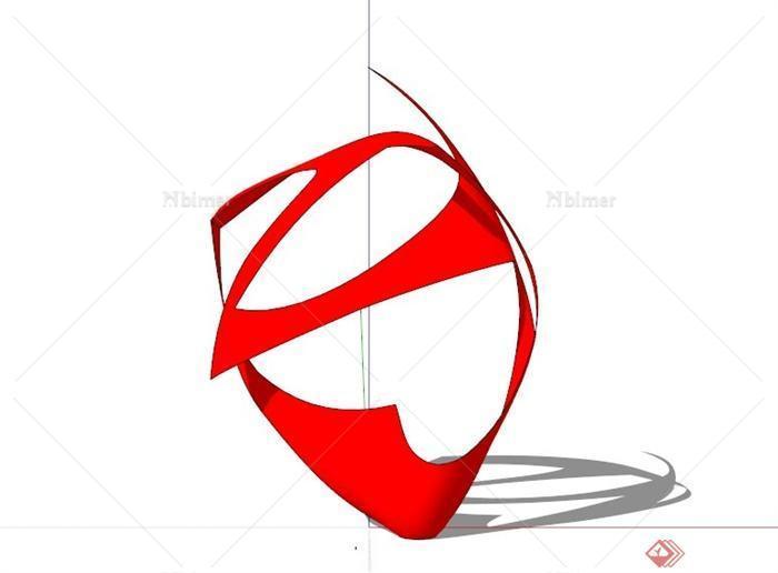 红色镂空抽象雕塑设计su模型素材[原创]