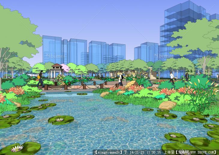 经典小区园林景观sketchup模型