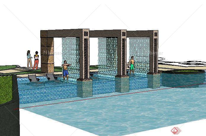 游泳池旁模型水景作业SketchUp(SU)3D景观建筑设计的毕业设计设计图片