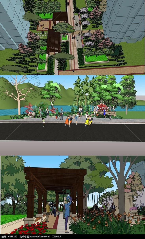 城市景观设计,公园景观设计,景观设计模型,木质长廊,小区景观设计